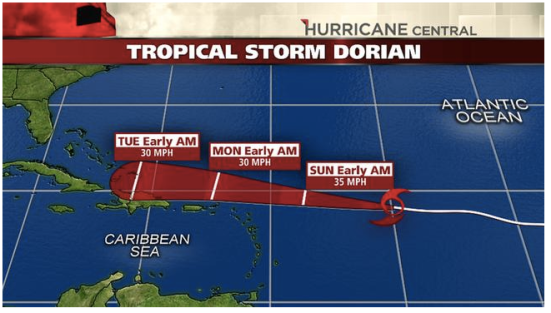 The projected path of Tropical Storm Dorian